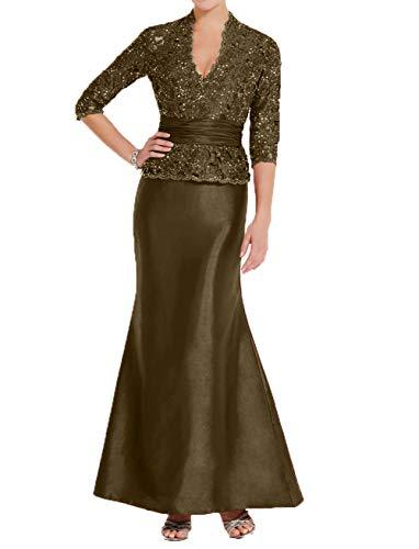 Charmant Damen Etuikleider Langarm Festlichkleider Glamour Braun Brautmutterkleider Partykleider Abendkleider Lang AawrdAqgxn