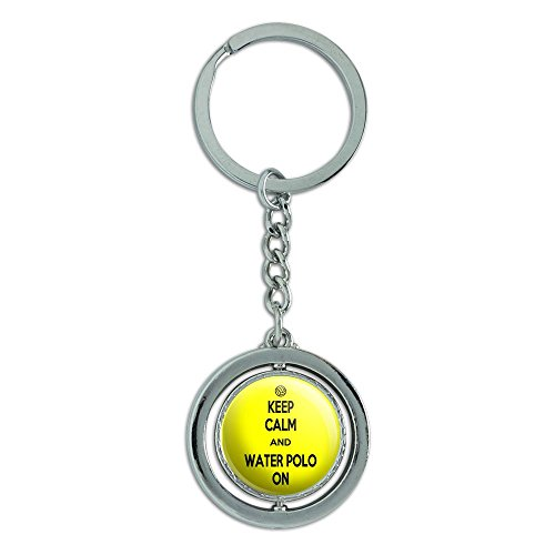 Graphics and More Guard Calm And Water Polo On Sports Spinning Round Metal Key Chain Keychain Ring