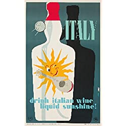 Drink Italian Wine Vintage Poster (artist: Martelli) Italy c. 1955 (12x18 Collectible Art Print, Wall Decor Travel Poster)