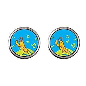 Chicforest Silver Plated Singing Chirping Bird Photo Stud Earrings 10mm Diameter