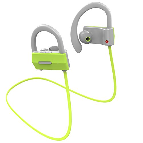 Anlo Bluetooth Headphones Wireless In Ear Earbuds V4.1 Stereo Noise Isolating Sports Sweatproof Headset with Mic, Premium Bass Sound - Green