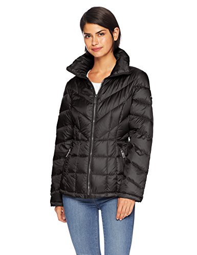 (Kenneth Cole New York Women's mid Length Zip Puffer Jacket with Mixed Quilting, Black L)