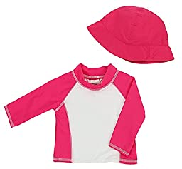 Baby Girls Infant Long Sleeve Rashguard Shirt with Matching Hat - UPF 50+ Sun Protection (S/6 Months)