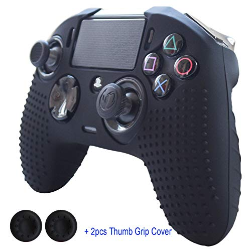 (Hikfly Silicone Gel Controller CoverHikfly Revolution Pro Controller V2 Cover Compatible with Nacon PS4 Controller Grips Skin Non-Slip Studded Silicone Cover with 2pcs Thumb Grips Caps(Black))