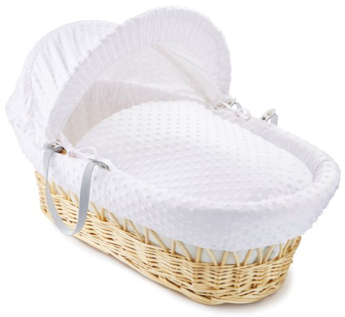 Clair de Lune Dimple Natural Wicker Moses Basket +Stand- White