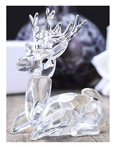H&D Deer Tiny Micro Crystal Figurines Clear Glass Art Wild Animals Collectible Gift Home Decor