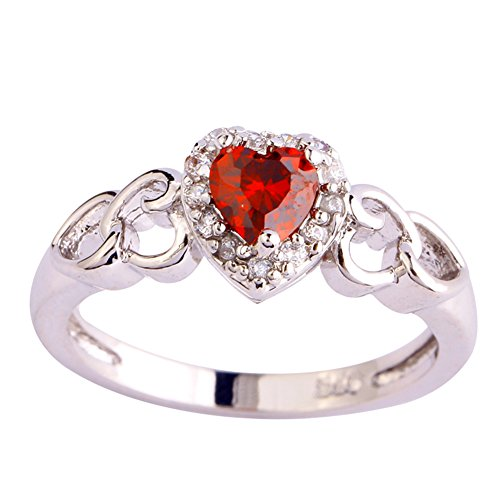 Diamond Ruby Pave Ring - Psiroy 925 Sterling Silver Heart Shaped Created Ruby Spinel Filled Halo Engagement Ring Size 7