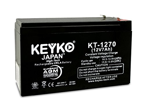 CyberPower OFFICE POWER AVR 800AVR UPS Battery 12V 7ah SLA Sealed Lead Acid Rechargeable AGM Replacement Battery Genuine KEYKO ® (W/F1 Terminal, F2 Adapter)