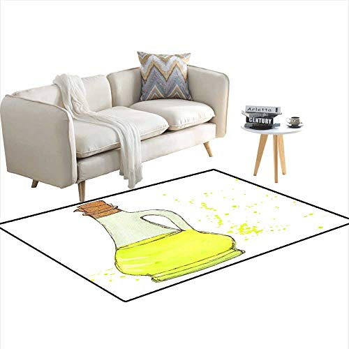 Area Rugs for Bedroom Oil Bottle Olive Oil Bottle with Cork Drops and Splashes Watercolor Isolated Object ()