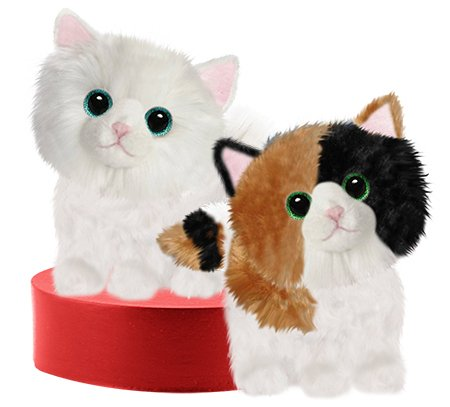 """7"""" Soft Plush Kitty Stuffed Animal Set of Two White Kitten A Calico Cat Carrying Case"""