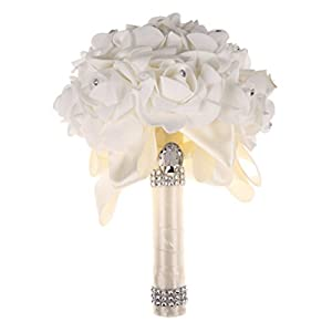 Da.Wa Crystal Silk Artificial Colourfast Roses Flower Bridal Bridesmaid Wedding Bouquet 42