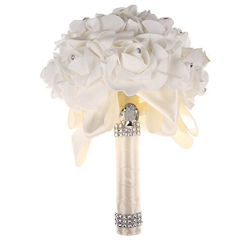 Da.Wa Crystal Silk Artificial Roses Bridal Bridesmaid Wedding Bouquet