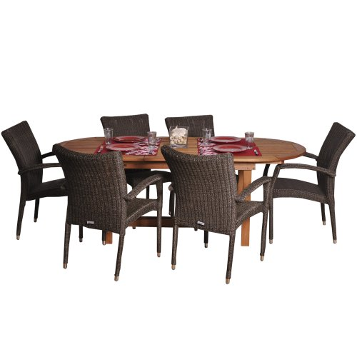 Amazonia Deluxe 7-Piece Patio Extendable Dining Set | Eucalyptus Wood and Wicker...