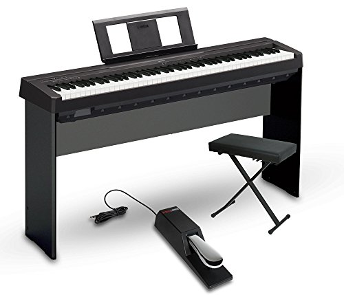 Yamaha P45B 88-Key Graded Hammer Standard Contemporary Digital Piano in Black with X-Style Bench, Wooden Stand and Universal Sustain Pedal
