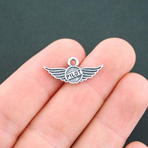 (4 Pilot Wings Charms Antique Silver Tone 2 Sided - SC3977)