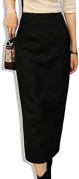 DAHDXD Faldas largas Elegantes de Invierno para Mujer Falda ...