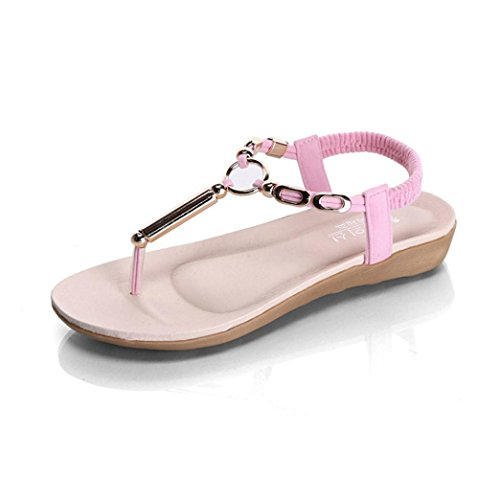Fullkang Womens Elastic Strappy String Thong Ankle Strap Summer Sandals Pink anNcVpp