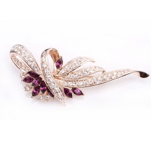 (Fashion Plaza Women`s Amethyst Purple Flower Wreath Cubic Zircon Pin Brooch BR132)