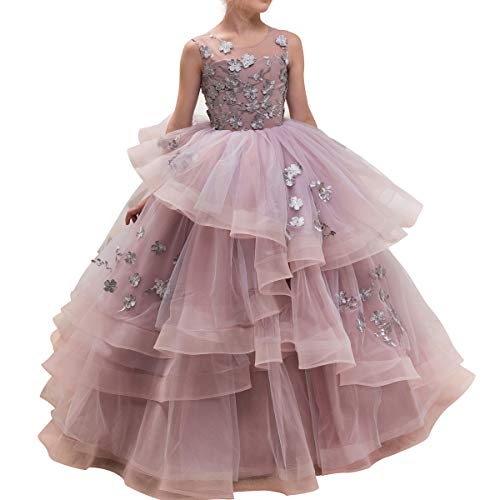 CQDY Floor Length Ball Gown Pageant Flower Big Girl Embroidery Princess Luxury Puffy Tulle Dress Flower Girls Prom Party