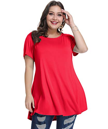 MONNURO Womens Short Sleeve Loose Fit Flare Swing Tunic Tops Basic T Shirt for Leggings(Red, 2X)