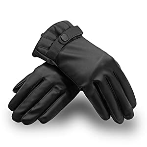 Smart Texting Gloves | Prime Grade Warm Luxurious PU Leather Unisex Gloves for All Smartphones and Touch Screen Gadgets (iPhone, Samsung, Etc.), Elegant Black