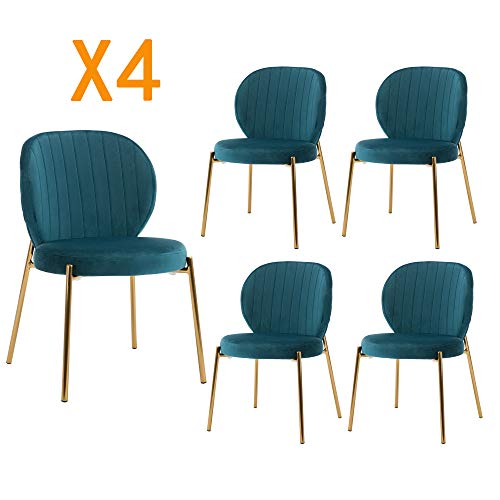 DAGONHIL Velvet Dining Chair,Upholstered Makeup with Golden Metal Leg,Set of 4(Dark Green)