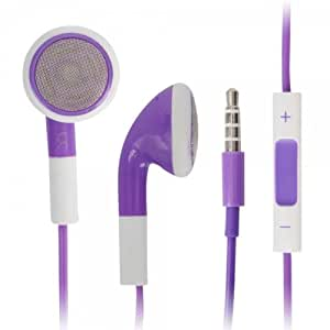 Purple 3.5mm Stereo Fashion Earphone Headsets with Volume Control & Microphone for Samsung Ch@t 322 (By Things Needed)