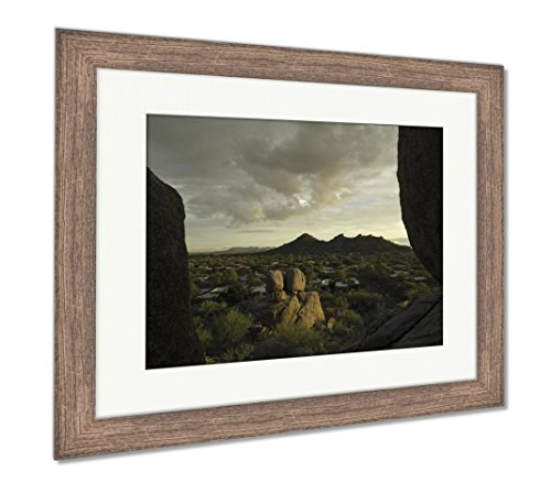 (Ashley Framed Prints Golden Hour Arizona Landscape Scottsdale Phoenix Areausa, Wall Art Home Decoration, Color, 30x35 (Frame Size), Rustic Barn Wood Frame, AG6123853)