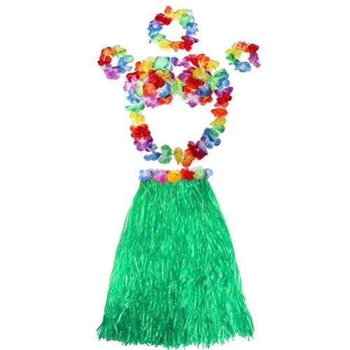 Tinksky Hawaii Tropical Hula Grass Dance Skirt Bra Flower Bracelets Headband Necklace Set, gift for women Luau Party favors