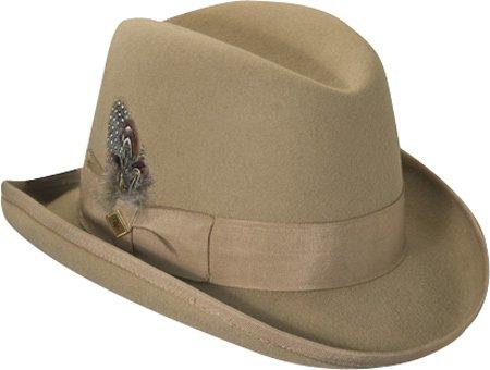 Stacy Adams Mens Wool Homburg Comfort Hat L White
