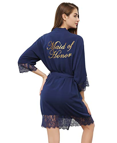 PROGULOVER Women's Cotton Kimono Robe for Bride Bridesmaid Wedding Party with Gold Glitter]()
