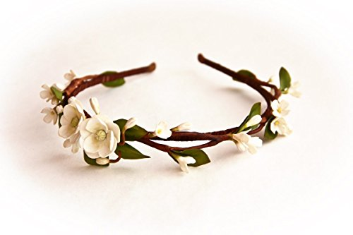 Accessories for brides HANDMADE White flower hair wreath, bridal hair accessory, wedding circlet Headband -AWAKENING- girl crown, flower girl headband, head wreath by Floren