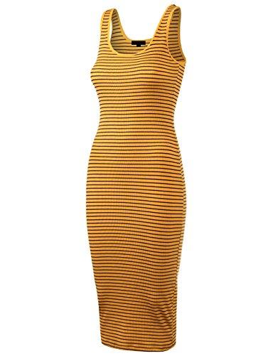 DOUBLDO Womens Line Striped Rib Jersey Boat Neck Tank Top Midi Dress-S-YELLOW_NAVY (Jersey Stripe Top Subtle)
