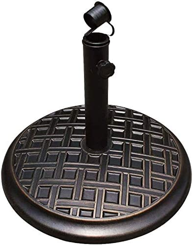 HOMEFUN Umbrella Base Stand Holder 33lbs, Outdoor Cement Round Heavy Duty,Cast Stone Rust Free, 18-in Diameter