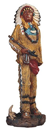 StealStreet SS-G-11719 Native American Indian Warrior Chief with Pipe Statue Figurine, 8