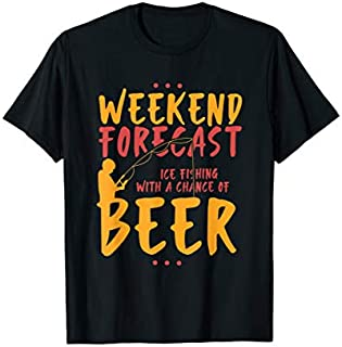 Angling & Ice Fishing With Beer I River I Ice Hole T-shirt | Size S - 5XL