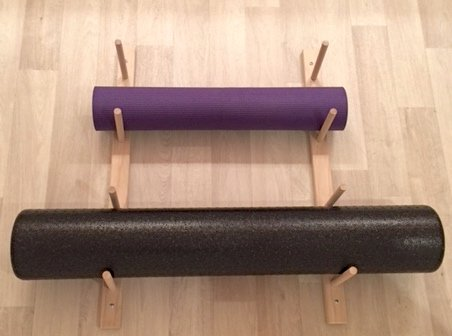 Foam Roller & Yoga Mat Storage Rack. Holds 4, 8, 12 etc. Modular (Sold by The Pairs and no. of Pairs You get Determines no. of mats/Rollers You Hold). Easy Wall Mount. Hardware Included. (Omega Yoga Mat)