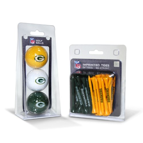 NFL Green Bay Packers 3 Golf Balls And 50 Golf Tees (Golf On Tee A Ball)