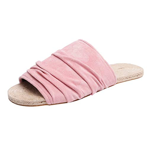 - Dressin Women Summer Slip-On Flats Weaving Open Toe Beach Breathable Slippers Rome Shoes Summer 2019 Sandals Pink