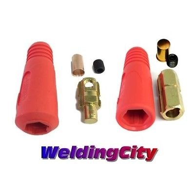 (WeldingCity Welding Cable Quick Connector Pair (Red) DINSE-Style 300Amp-400Amp (#1-2/0) 50-70 SQ-MM)