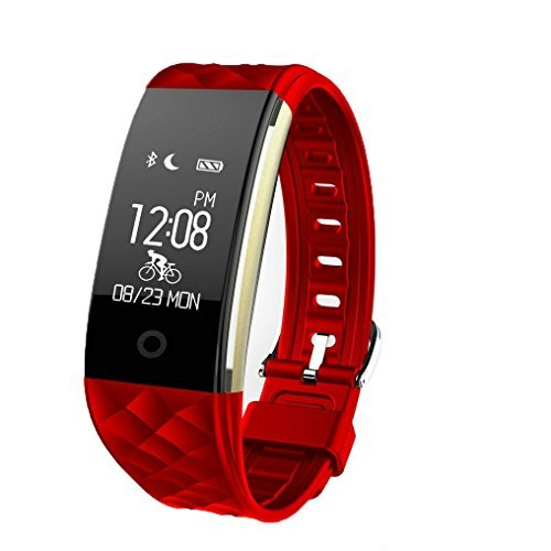 TechCode Activity Tracke Bluetooth, Smart Bluetooth Watch Wristband Sports Tracker Heart Rate Monitor Step Counter Pedometer with Slim Replacement Band Fit iOS&Android Phones for Kids/Women/Men(Red)