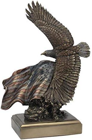 Bronze American Bald Eagle Tree Falcon Osprey Hawk Flag Statue Pride Flying Sale