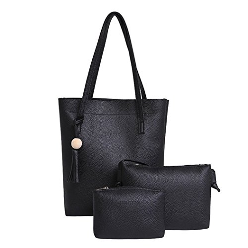 Clutch Crossbody Leather BNASA Bag Women Bag 3Pcs Black Set Handbag Large Capacity wqHzxw