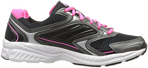 Fila Women's Xtent 4 Running Shoe, Black Black/Dark Silver/Knockout Pink