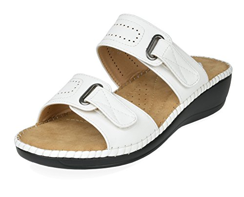 (DREAM PAIRS Women's Truesoft_01 White Low Platform Wedges Slides Sandals Size 6 B(M) US)