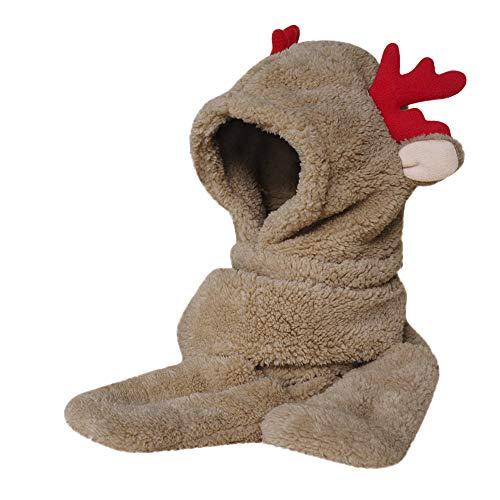 Swyss Women's Thick Warmer Hat Gloves Scarf Pocket Winter 3-in-1 Multifunction Furry Hoodie