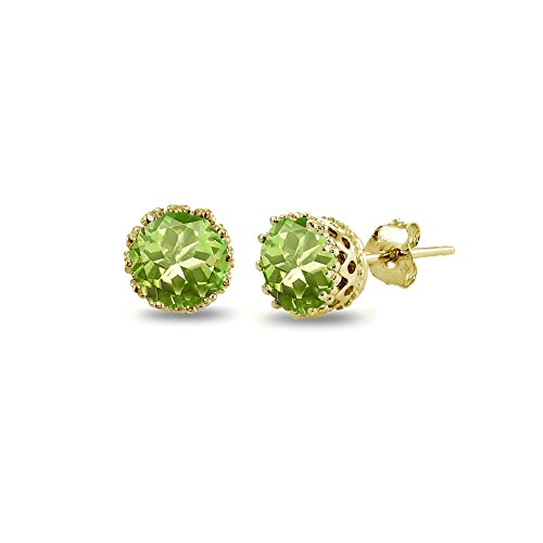 Bezel Peridot Stud Earrings (Yellow Gold Flashed Sterling Silver Simulated Peridot Crown Stud Earrings)
