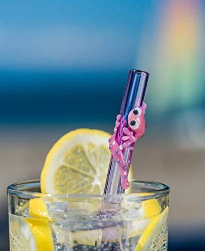 Pajitas de cristal con forma de colibrí, color rosa, 9 x 9,5 mm ...