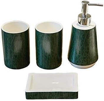 FXin CeraBathroomアクセサリー、セラミック素材、アメリカンダークグリーンバスルーム、4セット、ホームデコレーション、バスルームアクセサリー、ウォッシュカップセット シャワー室