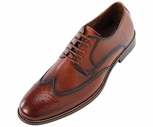 Asher Green - Zapato De Vestir Oxford De Ala Ancha Bruñido, Clásico, De Cuero Marrón, Para Hombre: Nelson-028